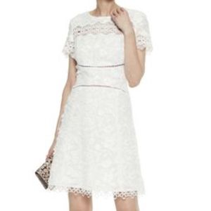 Elie Tahari white embroidered A line dress